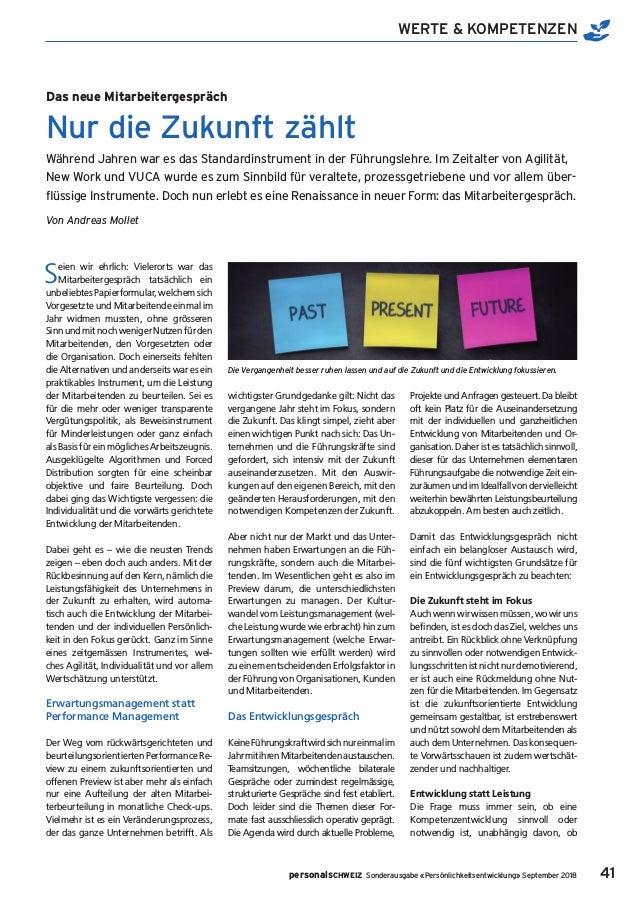 41 WERTE & KOMPETENZEN personalSCHWEIZ Sonderausgabe «Persönlichkeitsentwicklung» September 2018 Seien wir ehrlich: Vieler...