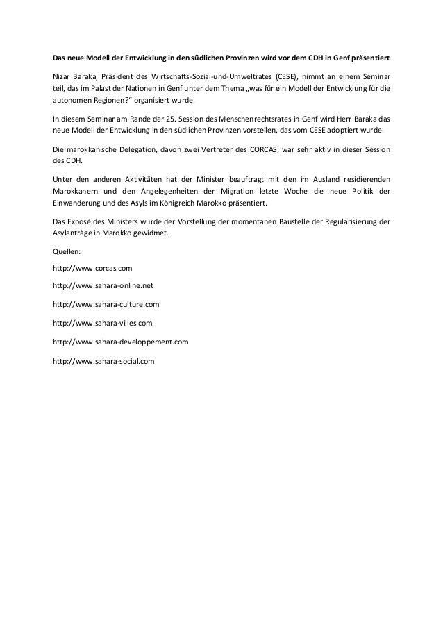 Das neue Modell der Entwicklung in den südlichen Provinzen wird vor dem CDH in Genf präsentiert Nizar Baraka, Präsident de...