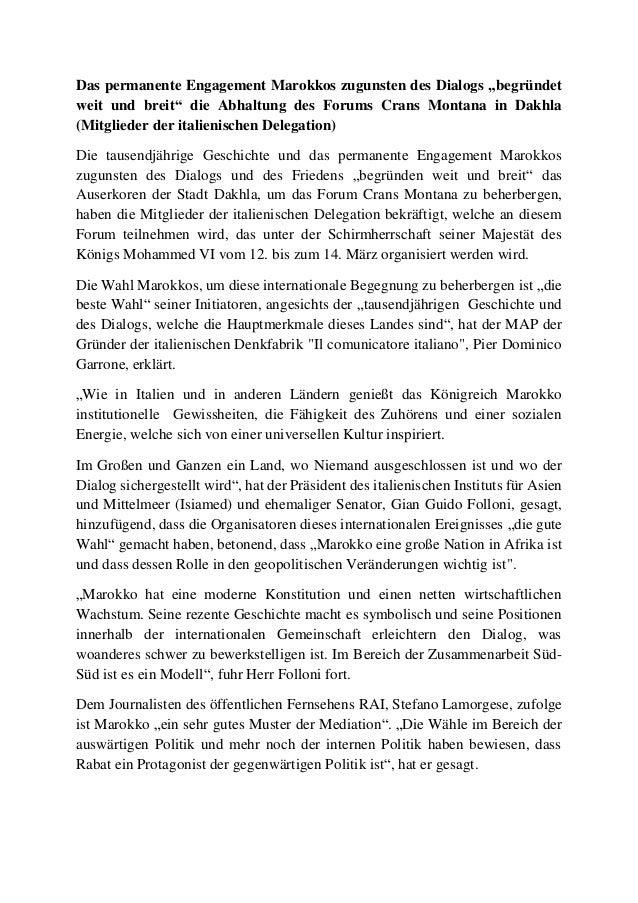 """Das permanente Engagement Marokkos zugunsten des Dialogs """"begründet weit und breit"""" die Abhaltung des Forums Crans Montana..."""