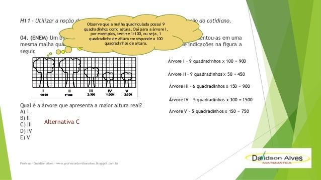 H11 - Utilizar a noção de escalas na leitura de representação de situação do cotidiano. Observe que a malha quadriculada p...
