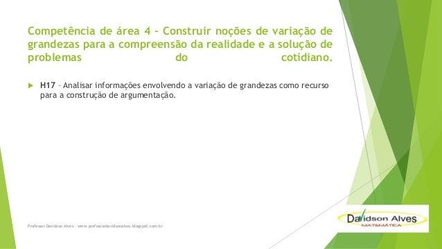 Competência de área 4 – Construir noções de variação de grandezas para a compreensão da realidade e a solução de problemas...