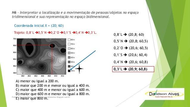 H6 – Interpretar a localização e a movimentação de pessoas/objetos no espaço tridimensional e sua representação no espaço ...