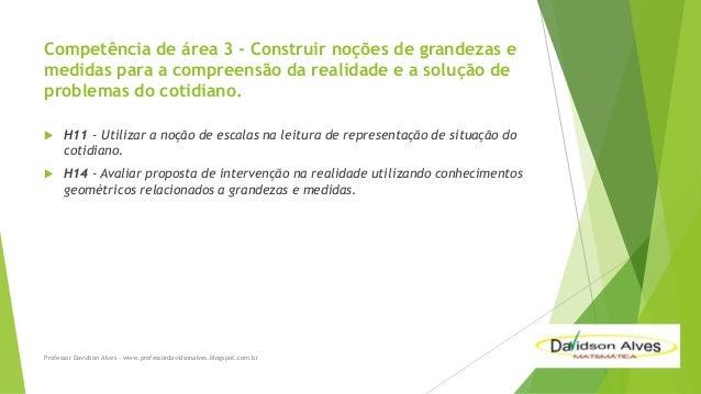 Competência de área 3 - Construir noções de grandezas e medidas para a compreensão da realidade e a solução de problemas d...