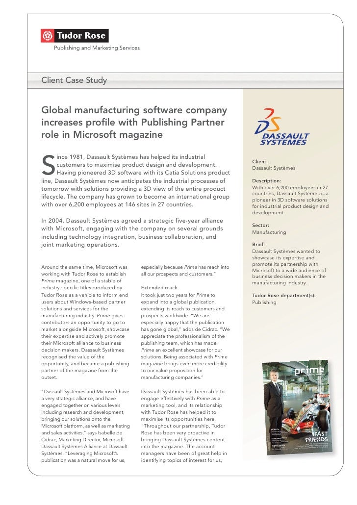 Client Case Study   Global manufacturing software company increases profile with Publishing Partner role in Microsoft maga...