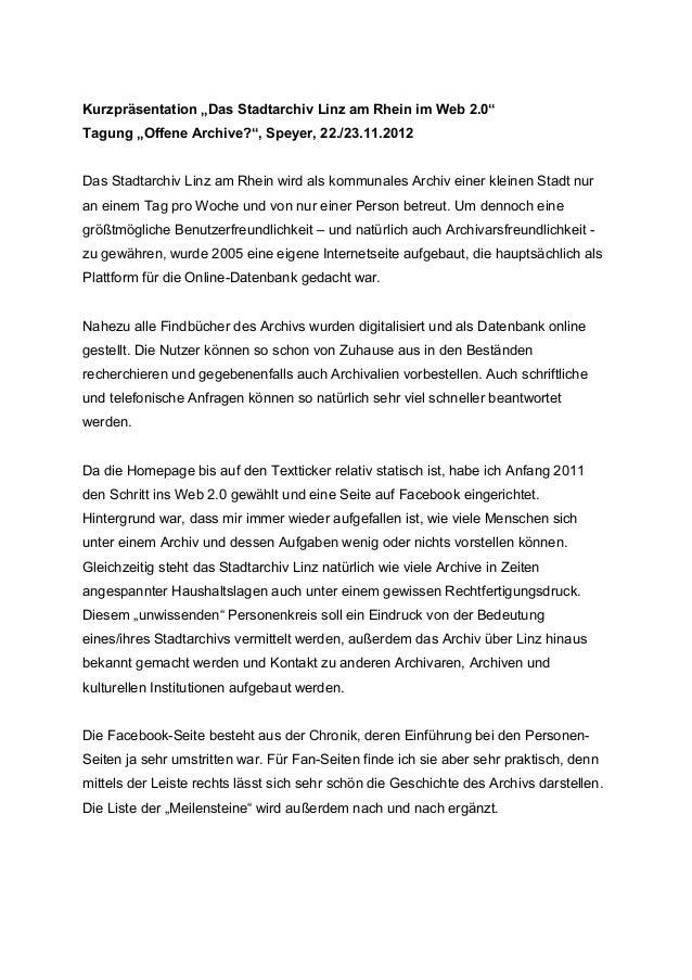 """Kurzpräsentation """"Das Stadtarchiv Linz am Rhein im Web 2.0""""Tagung """"Offene Archive?"""", Speyer, 22./23.11.2012Das Stadtarchiv..."""