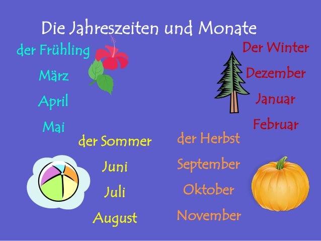 Die Jahreszeiten und Monate der Frühling März April Mai der Sommer Juni Juli August der Herbst September Oktober November ...
