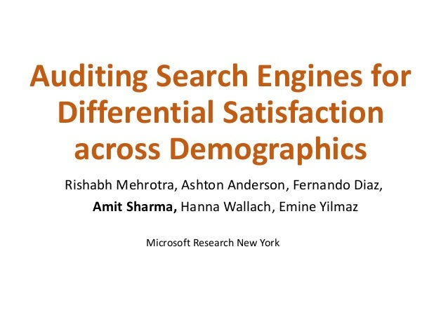 Auditing Search Engines for Differential Satisfaction across Demographics Rishabh Mehrotra, Ashton Anderson, Fernando Diaz...