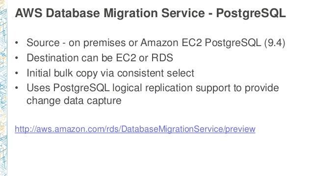 AWS Database Migration Service - PostgreSQL • Source - on premises or Amazon EC2 PostgreSQL (9.4) • Destination can be EC2...