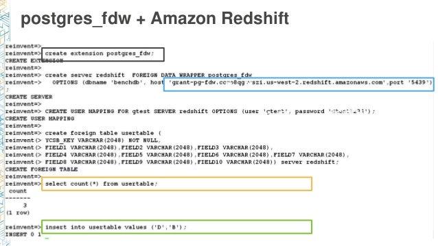 postgres_fdw + Amazon Redshift