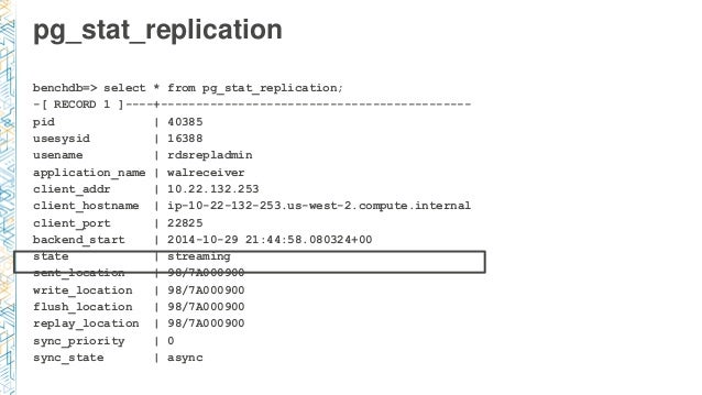 pg_stat_replication benchdb=> select * from pg_stat_replication; -[ RECORD 1 ]----+---------------------------------------...