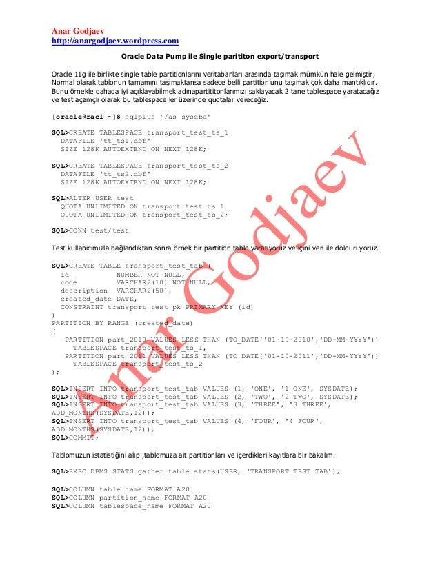 Anar Godjaev http://anargodjaev.wordpress.com Oracle Data Pump ile Single parititon export/transport Oracle 11g ile birlik...