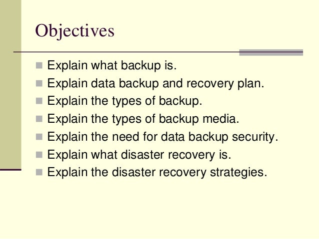Disaster backup and recovery