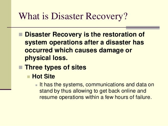 data backup and disaster recovery