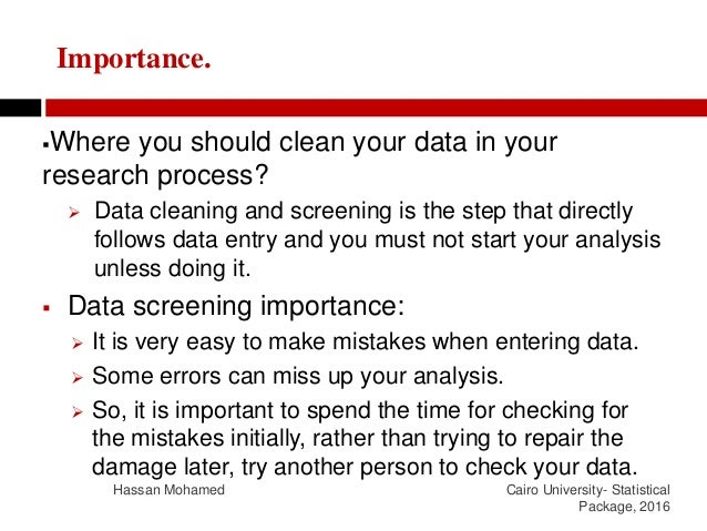 Data cleaning and screening Slide 3