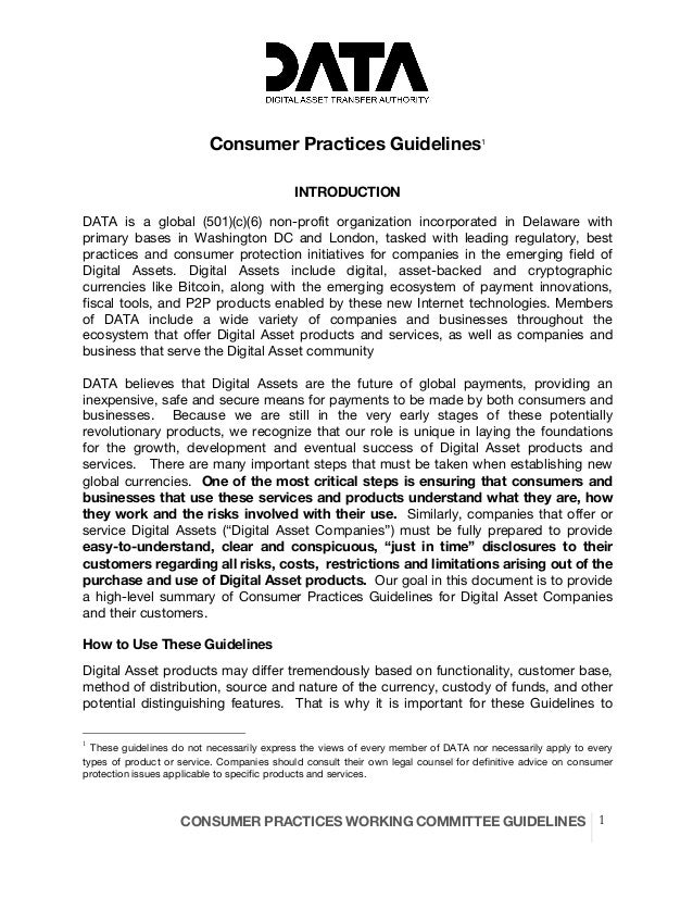 CONSUMER PRACTICES WORKING COMMITTEE GUIDELINES 1 Consumer Practices Guidelines1 INTRODUCTION DATA is a global (501)(c)(6)...
