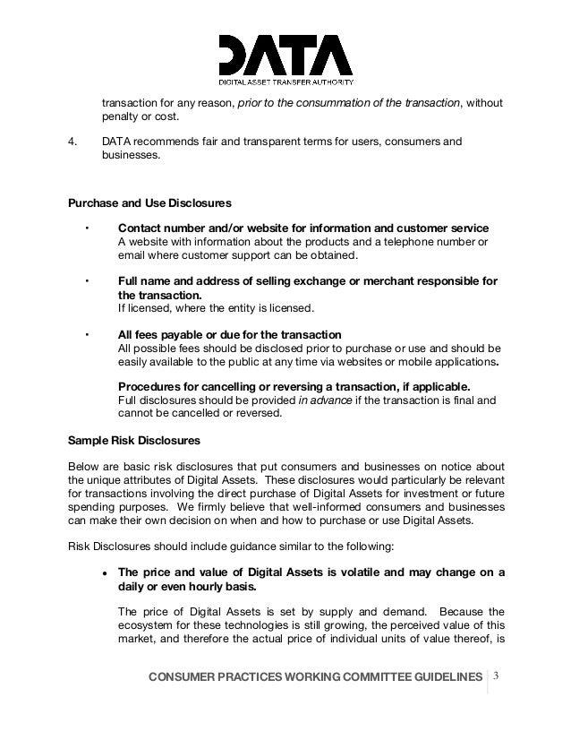 DATA Working Group - Consumer Best Practices Slide 3