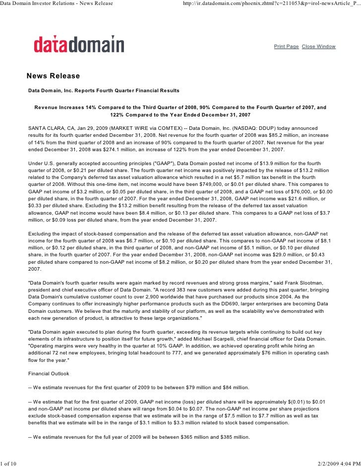Data Domain Investor Relations - News Release                                   http://ir.datadomain.com/phoenix.zhtml?c=2...