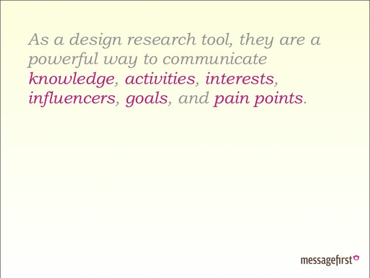As a design research tool, they are a powerful way to communicate knowledge, activities, interests, influencers, goals, an...