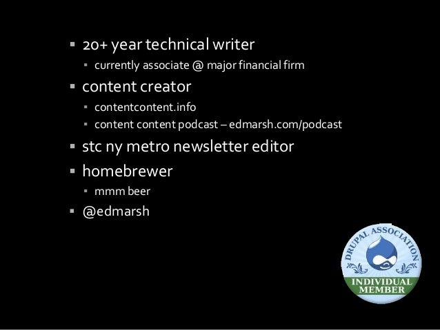  20+ year technical writer ▪ currently associate @ major financial firm  content creator ▪ contentcontent.info ▪ content...