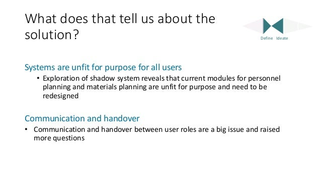 What does that tell us about the solution? Systems are unfit for purpose for all users • Exploration of shadow system reve...