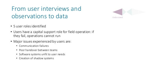 From user interviews and observations to data • 5 user roles identified • Users have a capital support role for field oper...