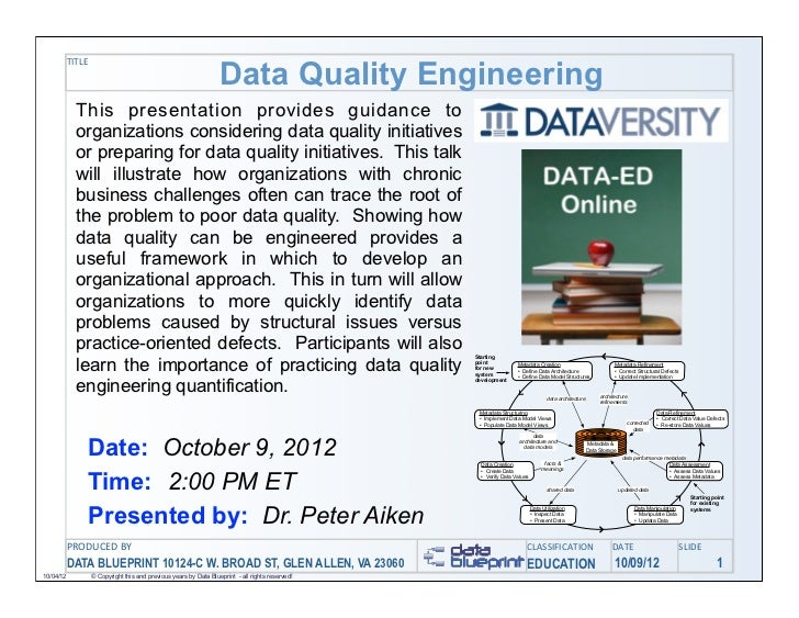 Data Quality Engineering           TITLE             This presentation provides guidance to             organizations cons...