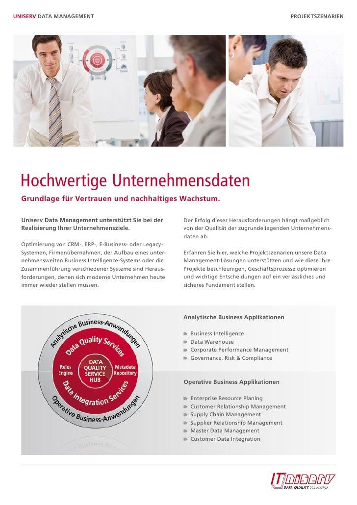 UniserV Data ManaGeMent                                                                         Projektszenarien  Hochwert...