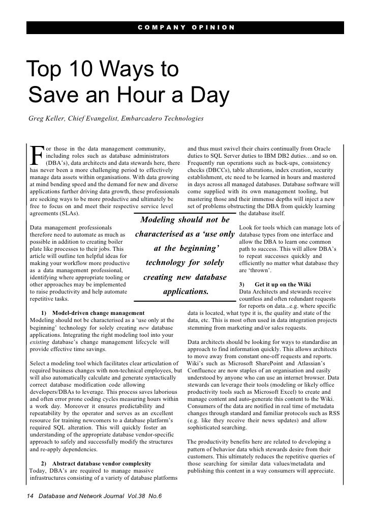 COMPANY             OPINION     Top 10 Ways to Save an Hour a Day Greg Keller, Chief Evangelist, Embarcadero Technologies ...