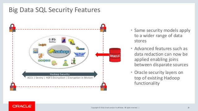 Copyright © 2018, Oracle and/or its affiliates. All rights reserved.   Big Data SQL Security Features • Same security mode...