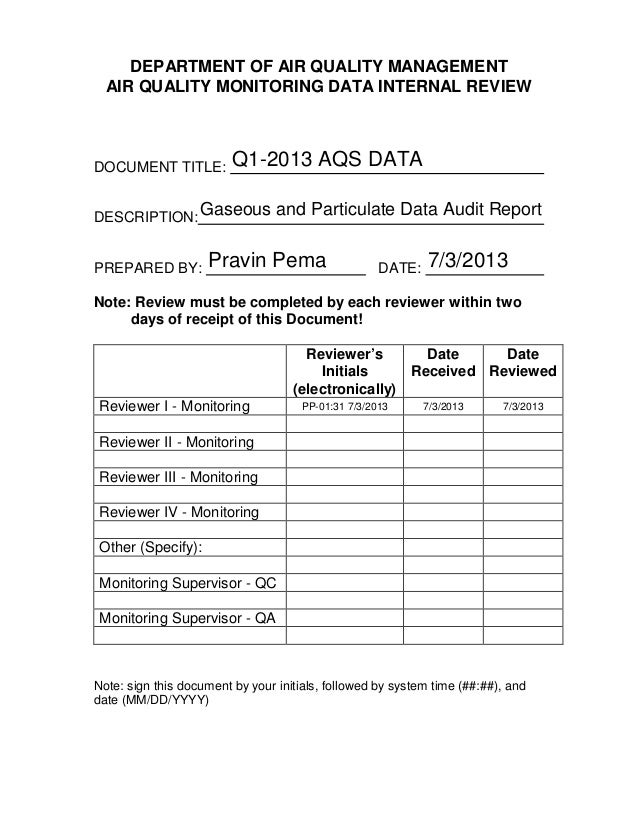 DEPARTMENT OF AIR QUALITY MANAGEMENT AIR QUALITY MONITORING DATA INTERNAL REVIEW DOCUMENT TITLE: DESCRIPTION: PREPARED BY:...