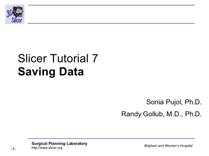 Slicer Tutorial 7 Saving Data Sonia Pujol, Ph.D. Randy Gollub, M.D., Ph.D.