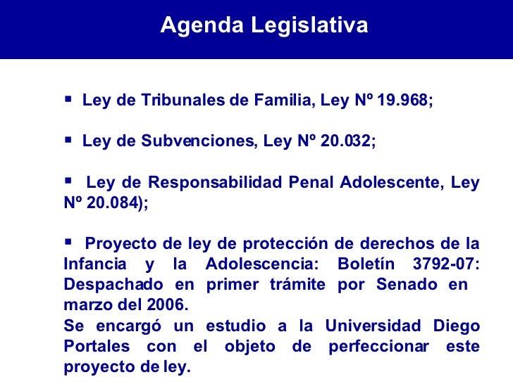 <ul><li>Ley de Tribunales de Familia, Ley Nº 19.968;  </li></ul><ul><li>Ley de Subvenciones, Ley Nº 20.032; </li></ul><ul>...