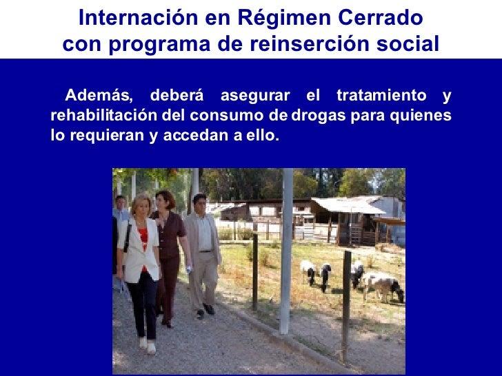 Internación en Régimen Cerrado con programa de reinserción social <ul><li>Además, deberá asegurar el tratamiento y rehabil...