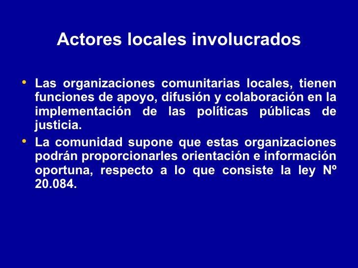 Actores locales involucrados <ul><li>Las organizaciones comunitarias locales, tienen funciones de apoyo, difusión y colabo...