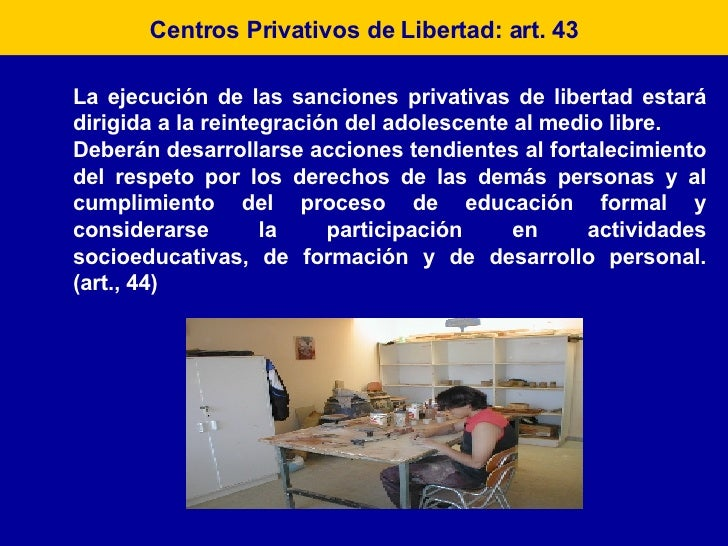 Centros Privativos de Libertad: art. 43 La ejecución de las sanciones privativas de libertad estará dirigida a la reintegr...