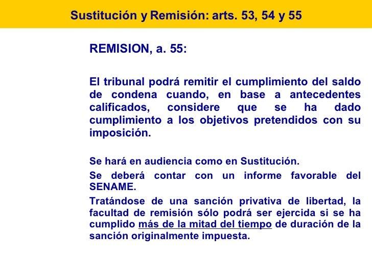 REMISION, a. 55:  El tribunal podrá remitir el cumplimiento del saldo de condena cuando, en base a antecedentes calificado...