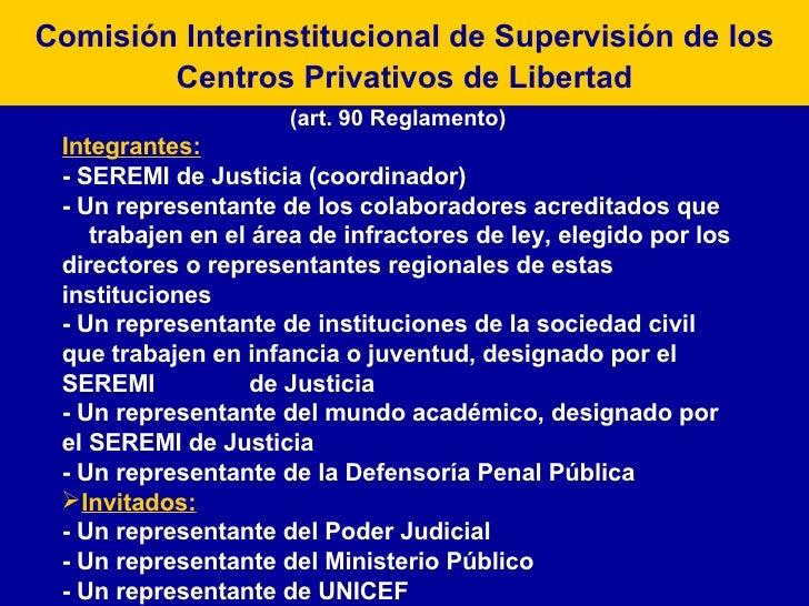 Comisión Interinstitucional de Supervisión de los Centros Privativos de Libertad <ul><li>(art. 90 Reglamento) </li></ul><u...