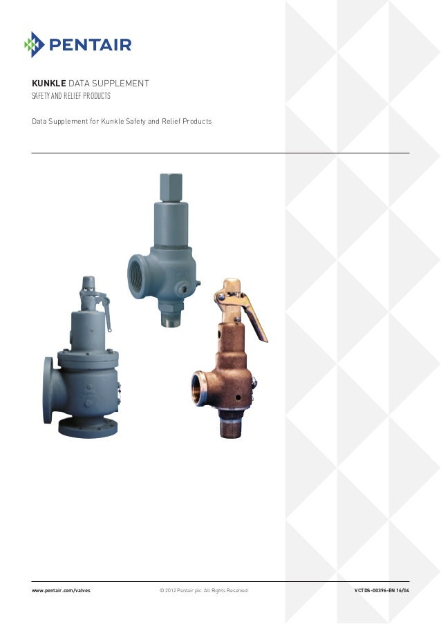 KUNKLE DATA SUPPLEMENT SAFETY AND RELIEF PRODUCTS www.pentair.com/valves © 2012 Pentair plc. All Rights Reserved. VCTDS-00...