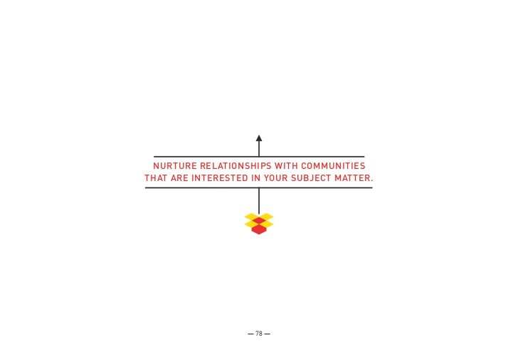 NURTURE RELATIONSHIPS WITH COMMUNITIESTHAT ARE INTERESTED IN YOUR SUBJECT MATTER.                    78