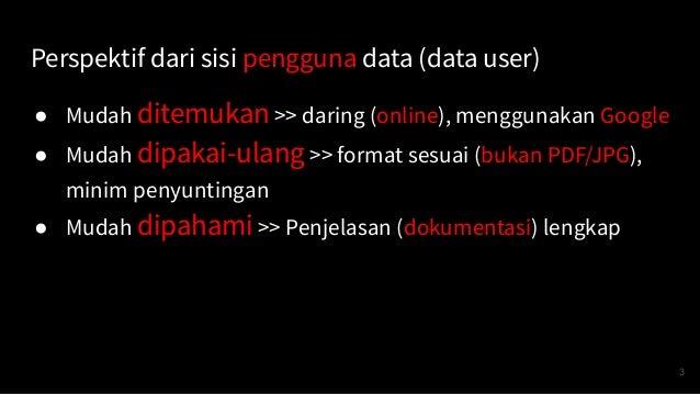 Perspektif dari sisi pengguna data (data user) ● Mudah ditemukan >> daring (online), menggunakan Google ● Mudah dipakai-ul...