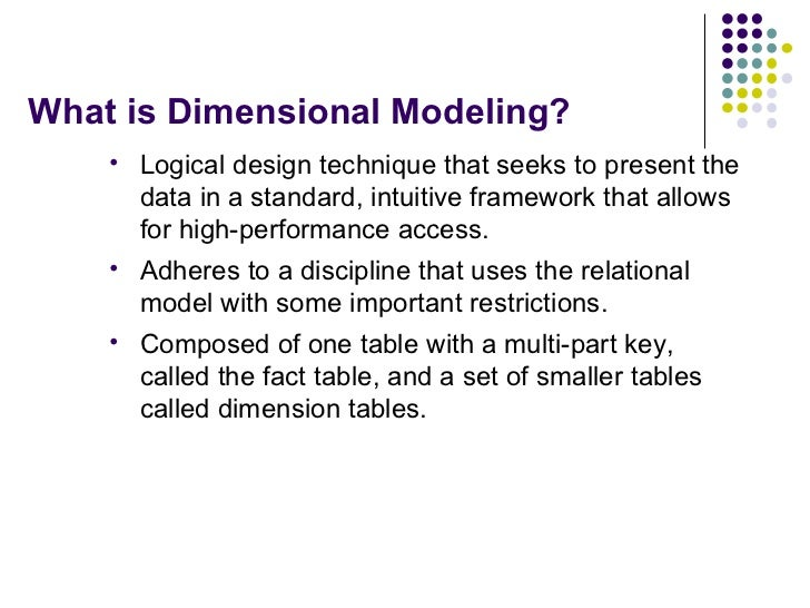 What is Dimensional Modeling? <ul><li>Logical design technique that seeks to present the data in a standard, intuitive fra...
