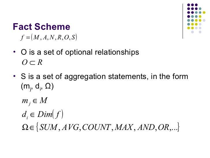Fact Scheme <ul><li>O is a set of optional relationships </li></ul><ul><li>S is a set of aggregation statements, in the fo...