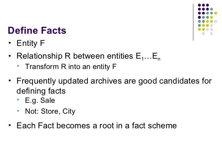 Define Facts <ul><li>Entity F </li></ul><ul><li>Relationship R between entities E 1 …E n </li></ul><ul><ul><li>Transform R...