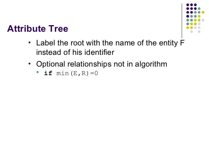 Attribute Tree <ul><li>Label the root with the name of the entity F instead of his identifier </li></ul><ul><li>Optional r...