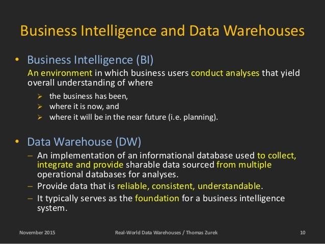 Data Warehousing - in the real world