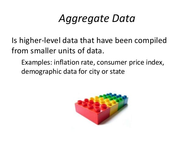 Aggregate Data  Is higher-level data that have been compiled  from smaller units of data.  Examples: inflation rate, consu...