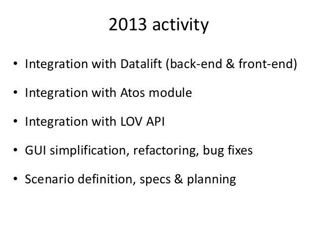 2013 activity • Integration with Datalift (back-end & front-end) • Integration with Atos module • Integration with LOV API...
