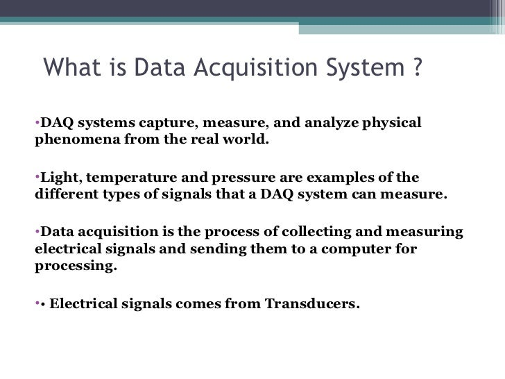 Data Acquisition Systems : Data acquisition system and loggers