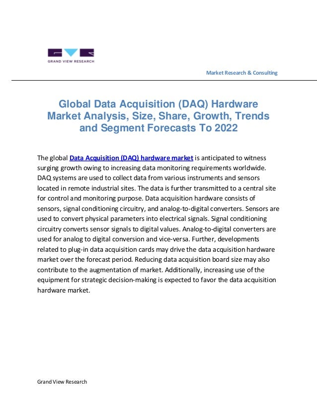 Data Acquisition And Trending : Global data acquisition daq hardware market analysis