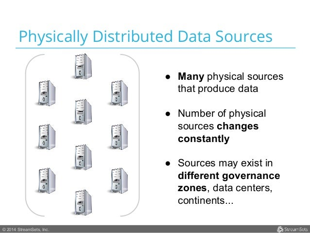 Physically Distributed Data Sources  © 2014 StreamSets, Inc.  ● Many physical sources  that produce data  ● Number of phys...